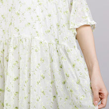 Load image into Gallery viewer, Round Neck Print Floral Pleated Short Sleeve Dress