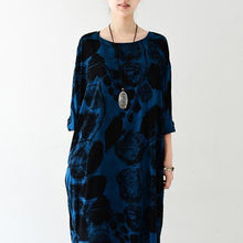 Load image into Gallery viewer, Royal blue silk dresses print sprint dress plus size dress