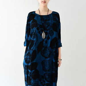 Royal blue silk dresses print sprint dress plus size dress