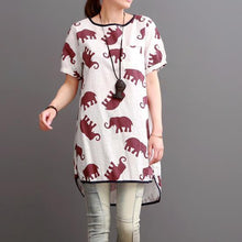 Load image into Gallery viewer, Ruby elephant print linen shirt blouse summer dress plus size