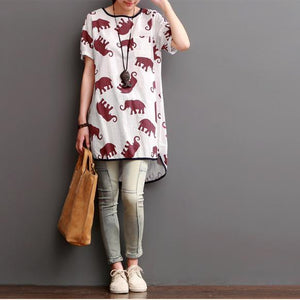 Ruby elephant print linen shirt blouse summer dress plus size