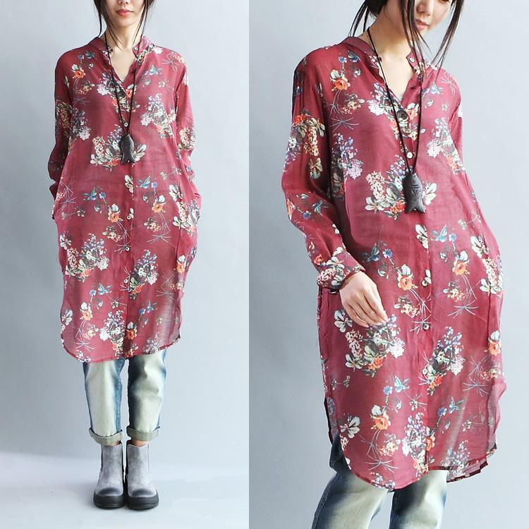 Ruby print silk dresses oversize tunic cotton blouses shift dresses