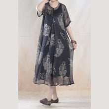 Laden Sie das Bild in den Galerie-Viewer, See-through dress floral silk dresses print flowy sundress two pieces