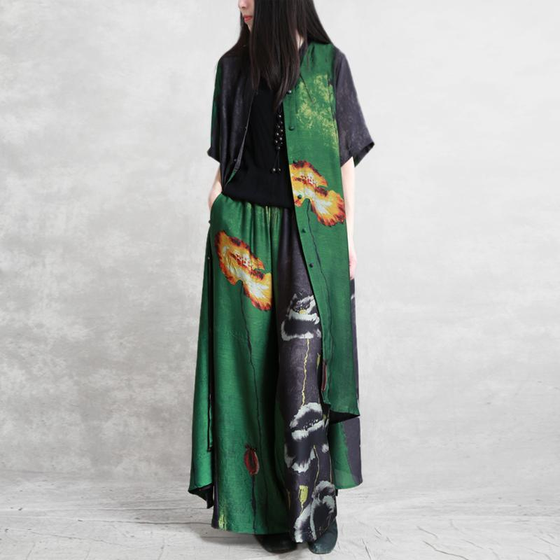 Silk suit five-point sleeve irregular long section large size shirt 2019 summer wide-leg pants