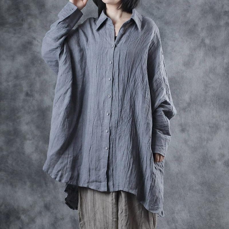 Simple Batwing Sleeve linen blouses for women Photography gray low high design tops fall