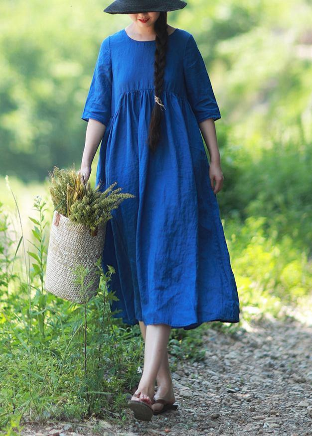 Simple O Neck Patchwork Summer Tunic Blue Vestidos De Lino Dress