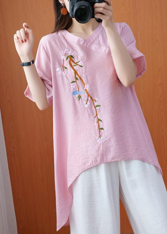 Simple Pink Silhouette Asymmetrical Design Size Clothing Summer Tops