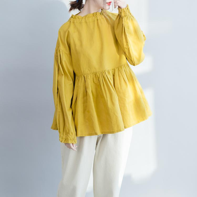 Simple Ruffled wrinkled cotton linen shirts boutique Shape yellow baggy blouse spring