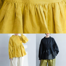 Load image into Gallery viewer, Simple Ruffled wrinkled cotton linen shirts boutique Shape yellow baggy blouse spring