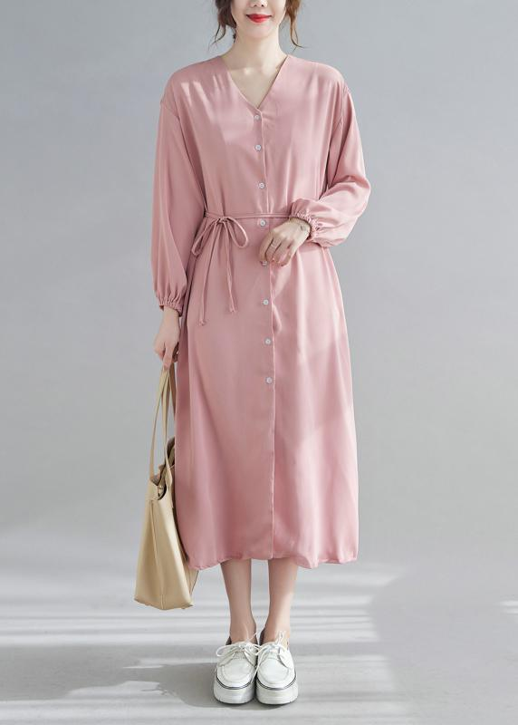 Simple V neck Drawstring Spring Tunics Pink Art Dress