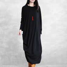 Load image into Gallery viewer, Simple asymmetric cotton wild clothes linen black cotton robes Dress