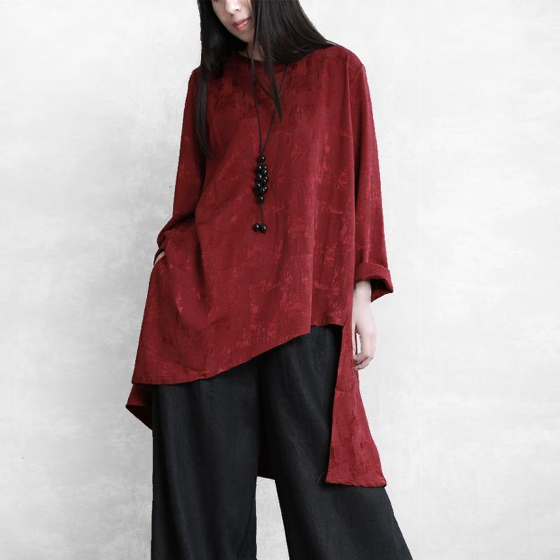 Simple asymmetric linen shirts Neckline burgundy blouse fall