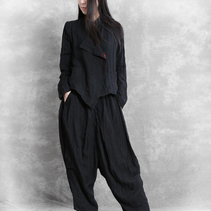 Simple black Multiple ways to wear  linen top silhouette and Fashion harem pants