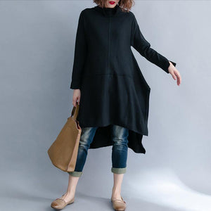 Simple black Sweater outfits plus size low high design baggy knitted tops side open