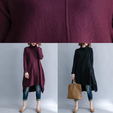 Load image into Gallery viewer, Simple black Sweater outfits plus size low high design baggy knitted tops side open