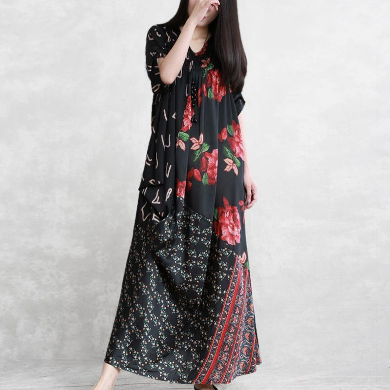 Simple black print chiffon outfit 2019 Tutorials o neck pockets patchwork Maxi Summer Dress
