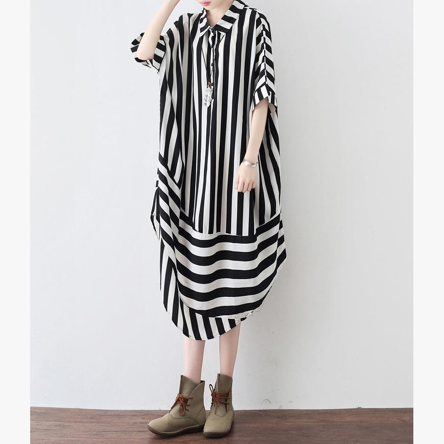 Simple black striped top silhouette Organic pattern lapel Batwing Sleeve Vestidos De Lino shirt dress