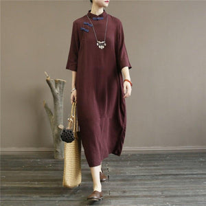 Simple bracelet sleeved cotton summer tunic dress Fashion Ideas dark khaki plaid Traveling Dress
