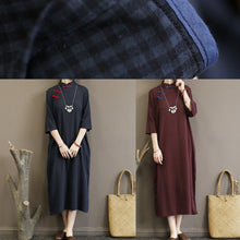 Load image into Gallery viewer, Simple bracelet sleeved cotton summer tunic dress Fashion Ideas dark khaki plaid Traveling Dress