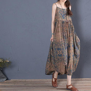 Simple brown prints cotton clothes For Women sleeveless Robe summer Dress
