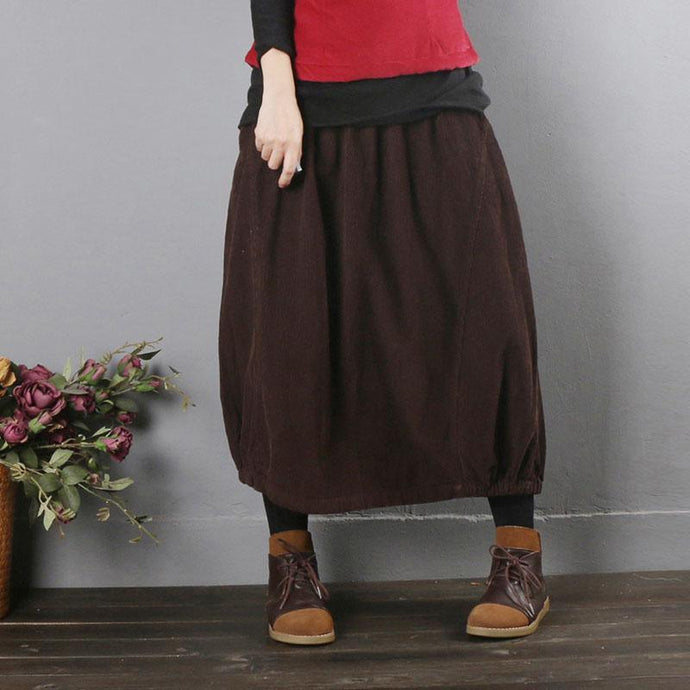 Simple burgundy quilting clothes elastic waist pockets daily fall skirt