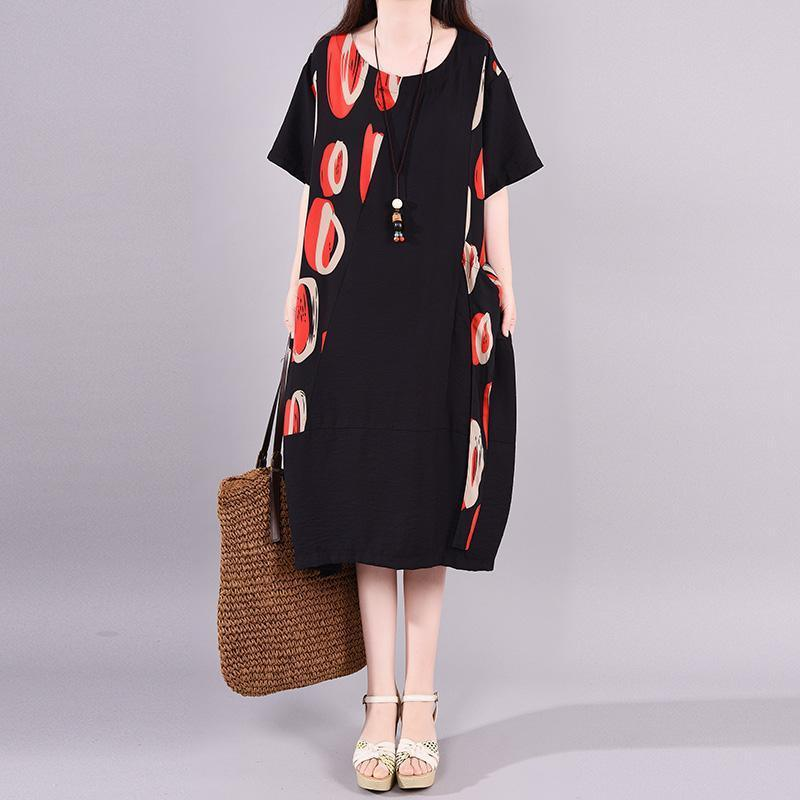 Simple clothes Women 2019 Print Short Sleeve Round Neck A-Line Dress