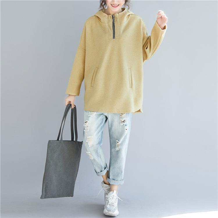 Simple cotton clothes For Women 2019 Fabrics yellow baggy tops
