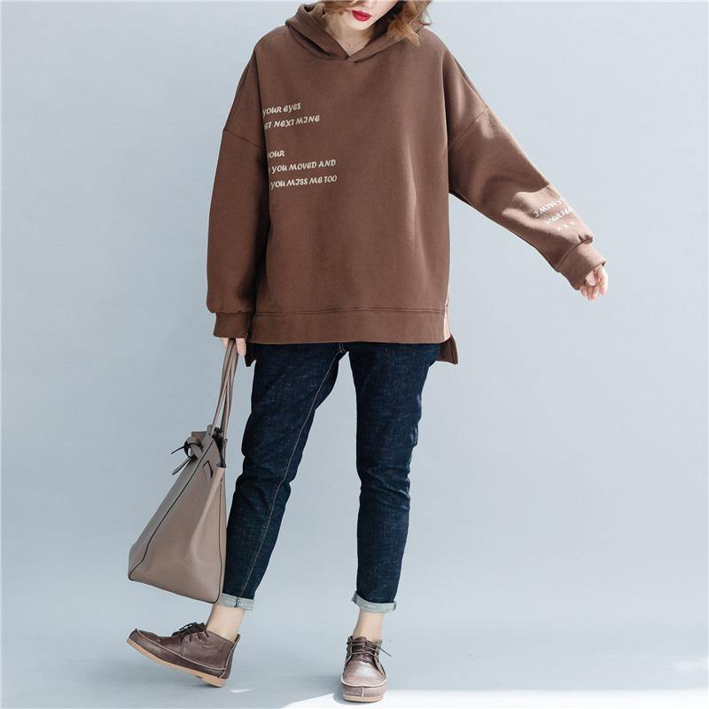 Simple cotton tunic top Casual hooded Work chocolate silhouette tops