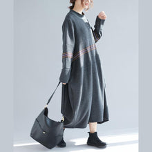 Load image into Gallery viewer, Simple dark gray cotton Robes Fine Work Outfits long o neck Dresses