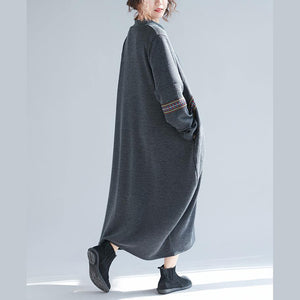 Simple dark gray cotton Robes Fine Work Outfits long o neck Dresses