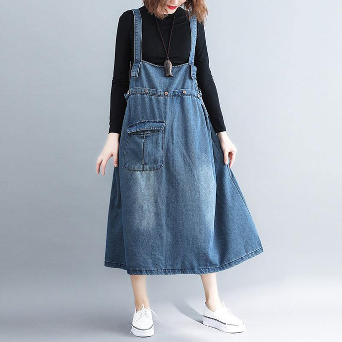 Simple denim blue cotton Tunic Organic Outfits pockets Spaghetti Strap A Line Dress