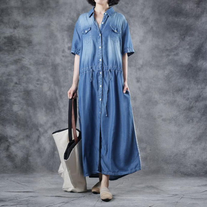 Simple denim blue cotton dresses stand collar drawstring loose summer Dress