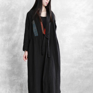 Simple drawstring patchwork linen Long Shirts Runway burgundy Dress