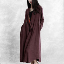 Load image into Gallery viewer, Simple drawstring patchwork linen Long Shirts Runway burgundy Dress