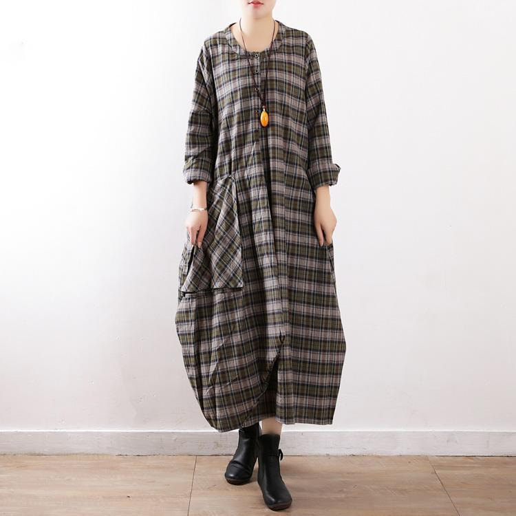 Simple green Plaid cotton clothes For Women plus size Work Outfits Large pockets Robe Dress