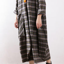 Load image into Gallery viewer, Simple green Plaid cotton clothes For Women plus size Work Outfits Large pockets Robe Dress