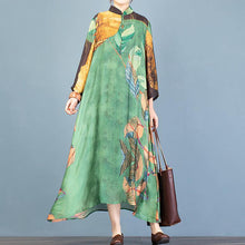 Load image into Gallery viewer, Simple green print Wardrobes stand collar asymmetric A Line Dresses