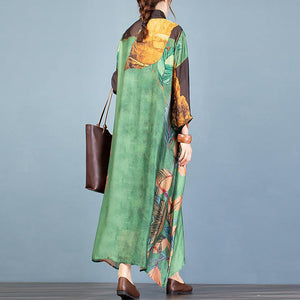 Simple green print Wardrobes stand collar asymmetric A Line Dresses