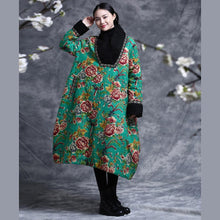 Load image into Gallery viewer, Simple green print cotton quilting clothes Organic Online Shopping V neck vintage Dresses