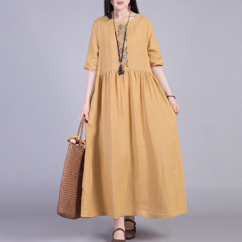 Simple Half Sleeve Linen Dresses Runway Yellow Dresses Summer ( Limited Stock)