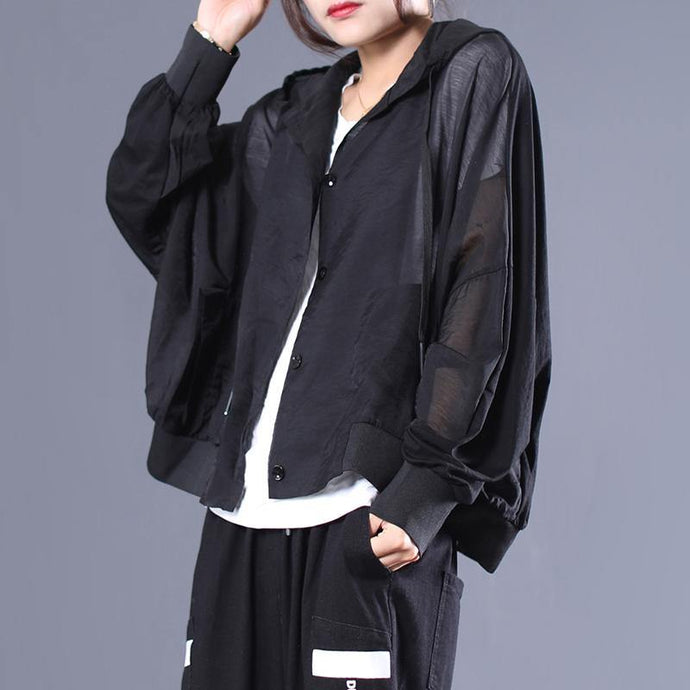 Simple hooded cotton fall clothes Work black blouses