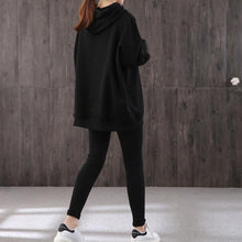Load image into Gallery viewer, Simple hooded drawstring cotton Blouse Sewing black print top