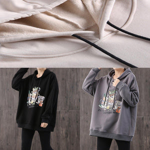 Simple hooded drawstring cotton Blouse Sewing black print top