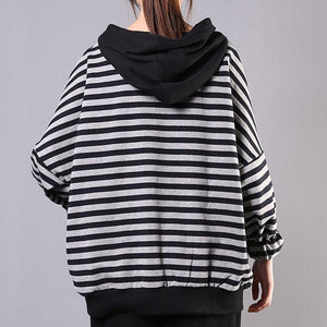Simple hooded pockets cotton clothes For Women Work black striped blouse