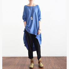 Load image into Gallery viewer, Simple light blue linen tops Korea Shirts o neck asymmetric daily tops