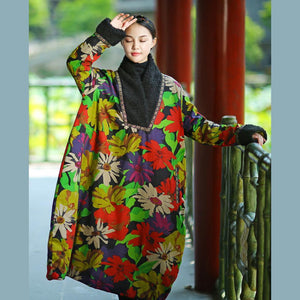 Simple light green prints cotton Wardrobes Soft Surroundings Sleeve shift autumn thick Dresses
