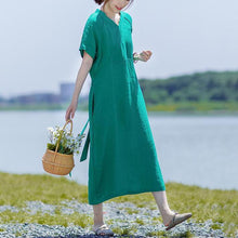 Laden Sie das Bild in den Galerie-Viewer, Simple linen cotton clothes For Women Soft Surroundings V-Neck Lacing Solid Color Casual Dress