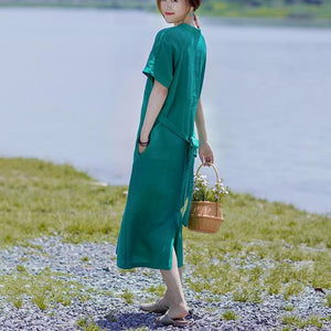 Simple linen cotton clothes For Women Soft Surroundings V-Neck Lacing Solid Color Casual Dress
