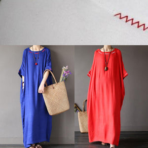 Simple loose waist linen summer dress Fabrics blue Dress