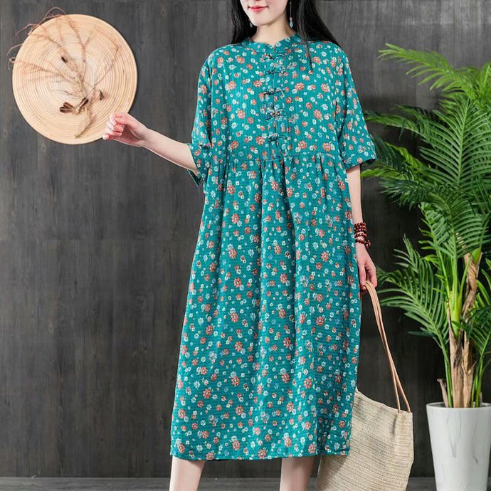 Simple o neck Cotton Long Shirts Inspiration blue floral Dress summer